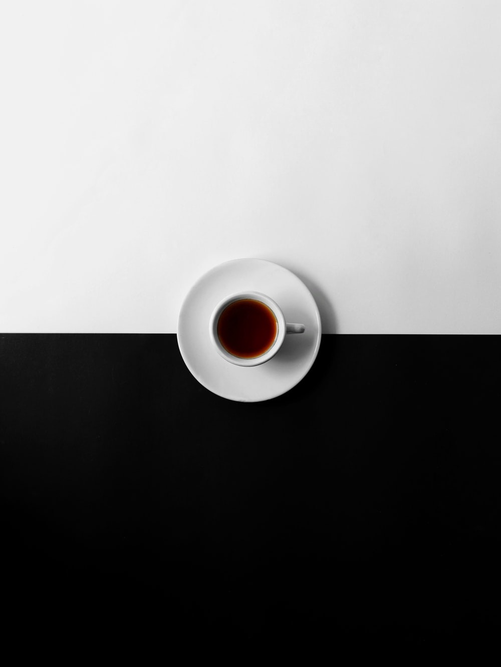 Flat view photo of a cup of coffee