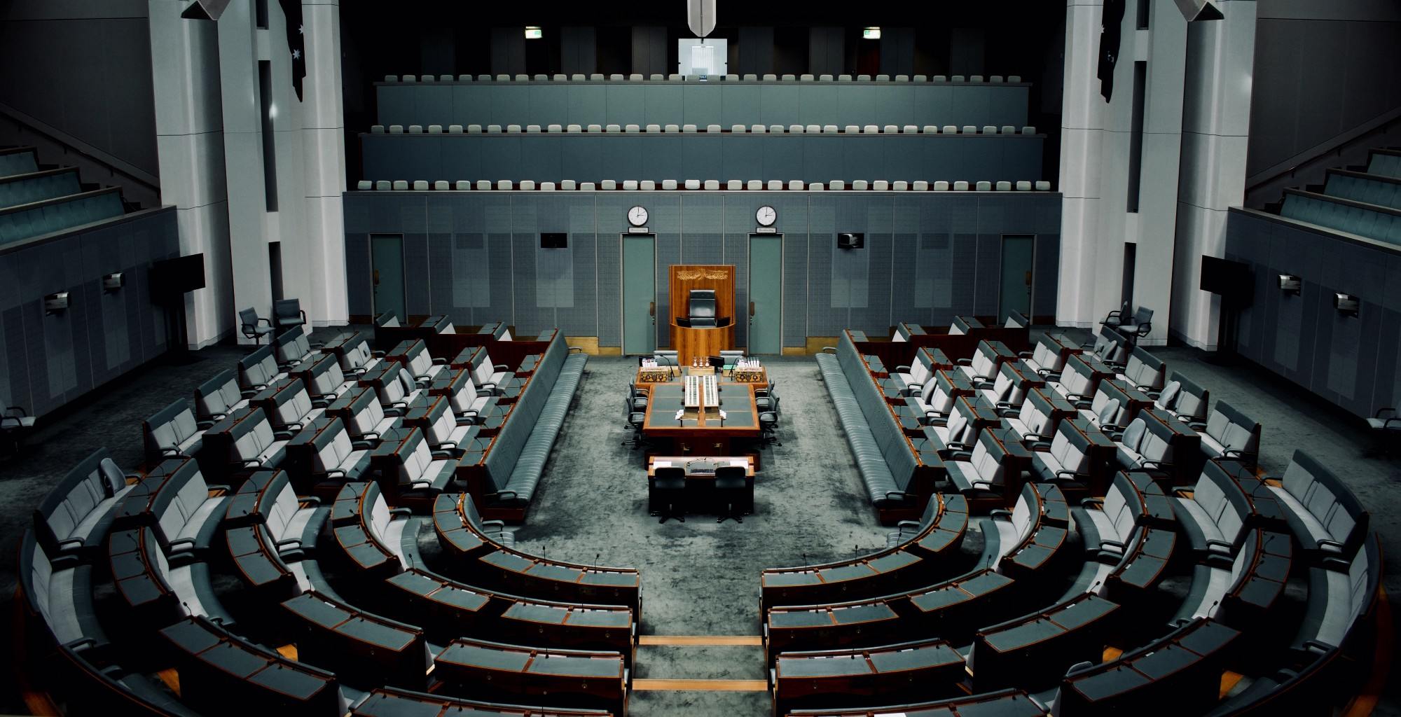 Empty chairs inside a National Assembly