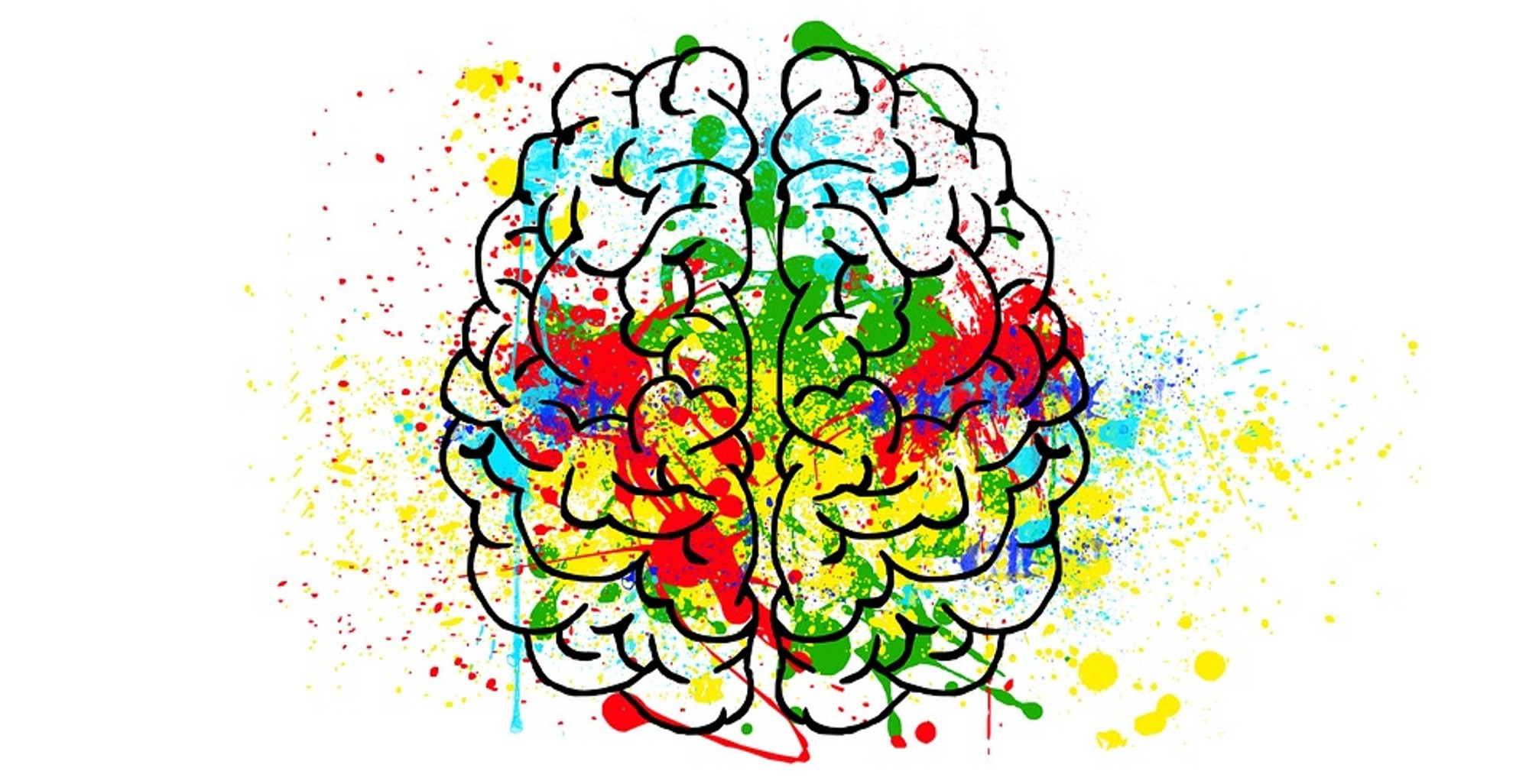 colorful paint splattered on an outline of a brain