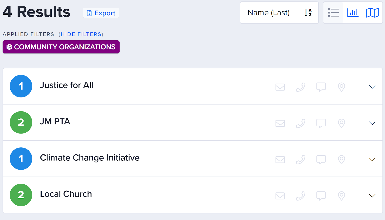 Screenshot of Action Builder showing the ability to search based on connections between people and groups.