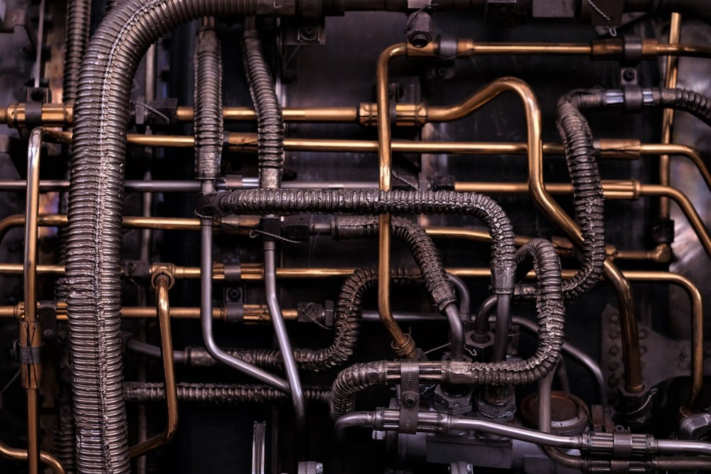 A spaghetti of pipes that looks surprisingly beautiful in its ugliness.