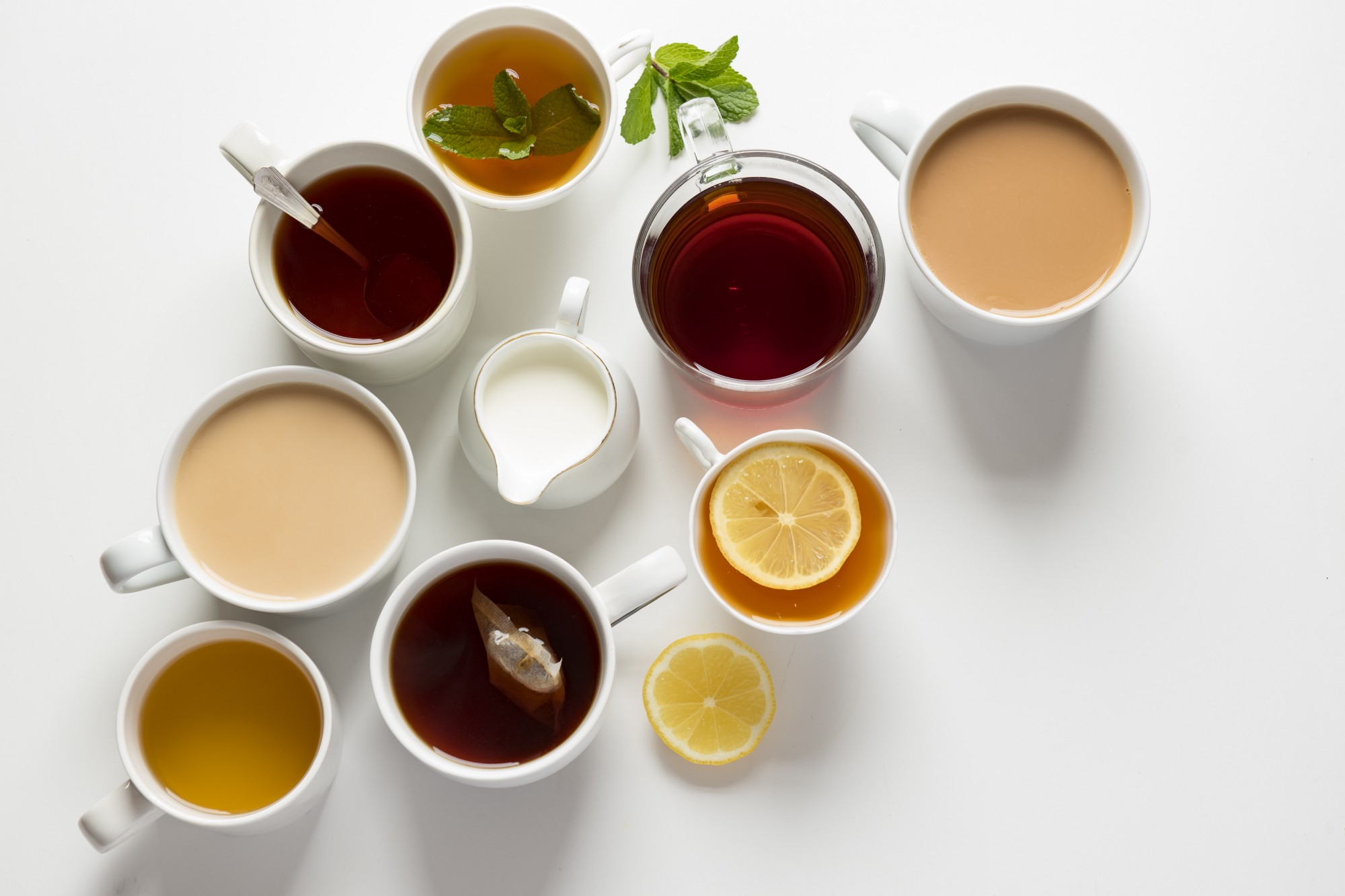 A selection of broths and tea.