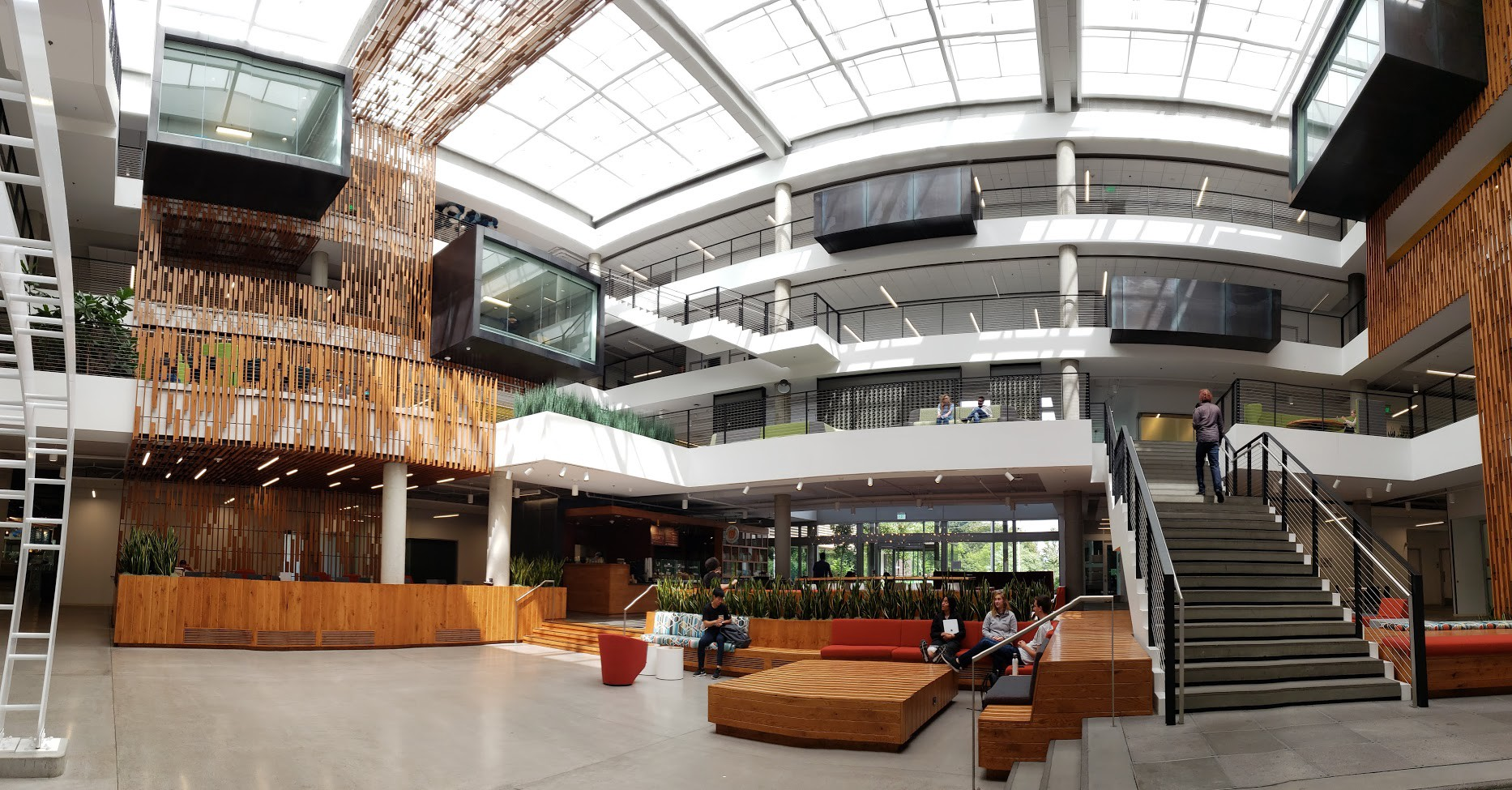A panoramic view inside one of Microsoft's office buildings
