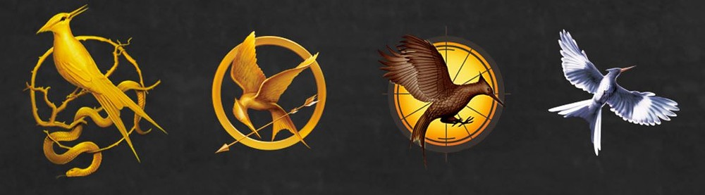 The four Hunger Games series logos on a green background.