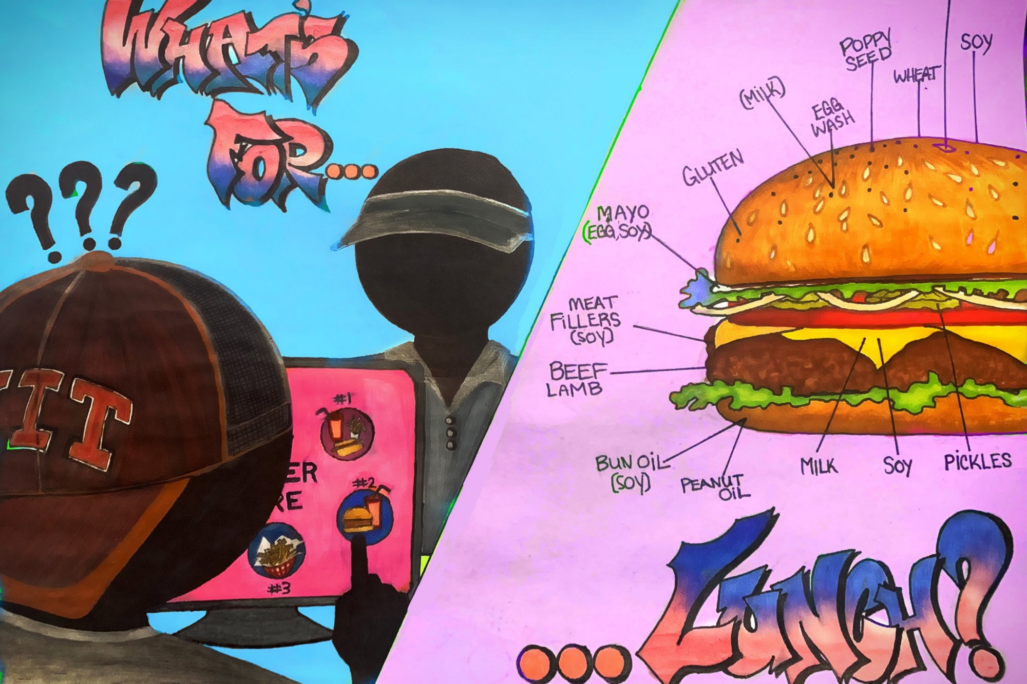 """Split screen: on the left side, the words """"what's for…"""" with a cartoon of someone ordering food on a touchscreen. On the right side, an illustration of a cheeseburger with arrows pointing to potential allergens, with the word """"…lunch?"""" beneath it."""