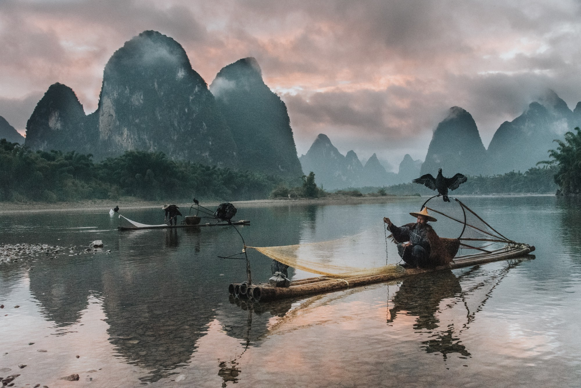 A Chinese fisherman catching fish with his net in a lake beside beautiful mountains.