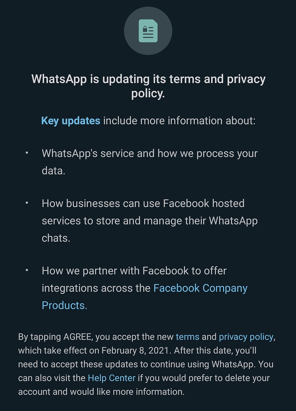 WhatsApp Privacy Policy update 8 Feb 2021