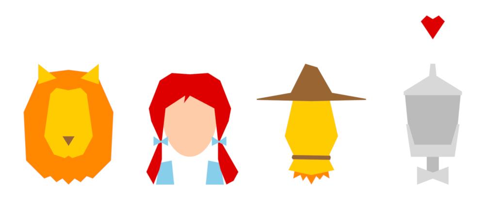Polygonal portraits of a lion, a girl, a scarecrow, and a tin woodman.