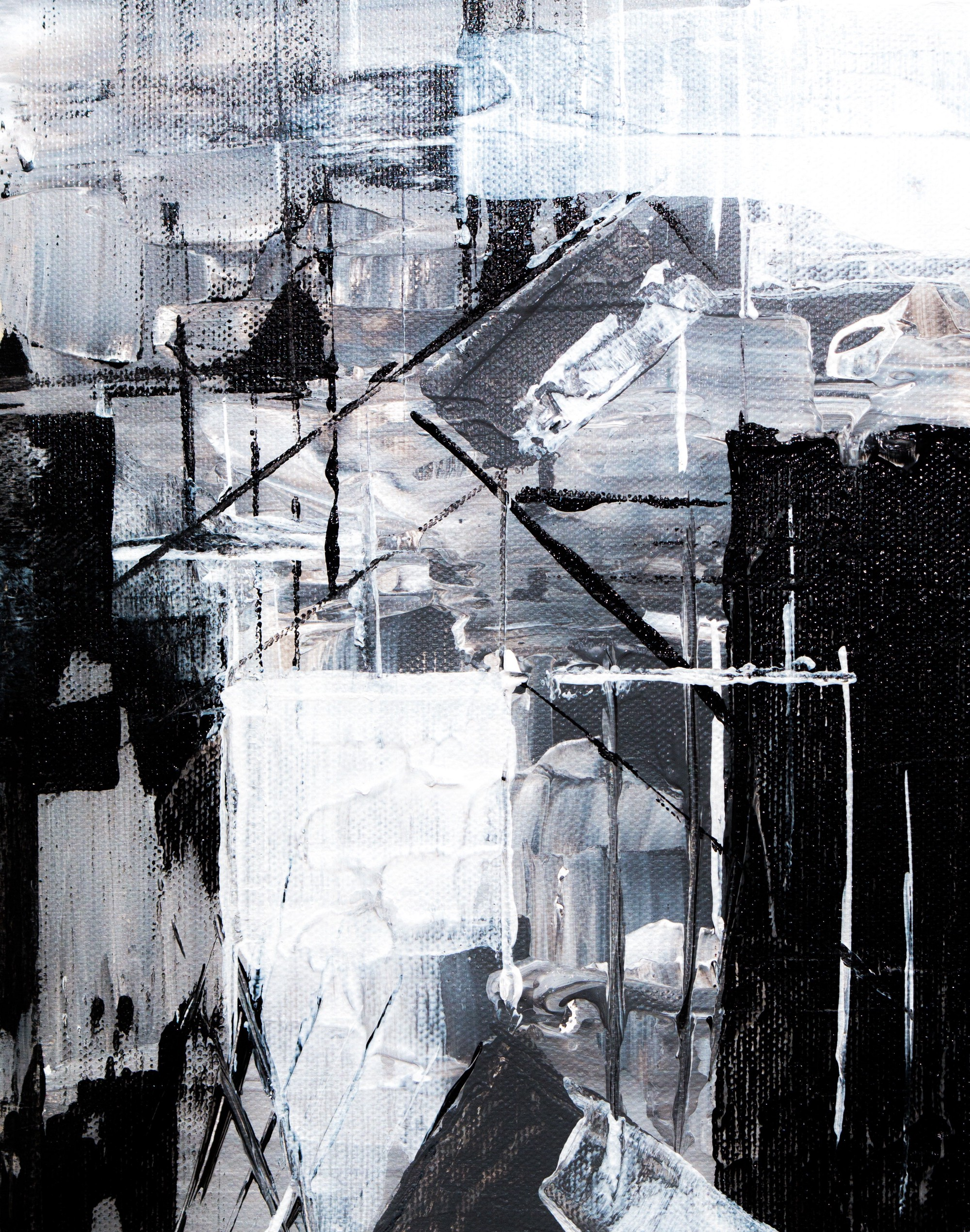 Abstract, greyscale paiting with vertical lines & marks and block shapes.