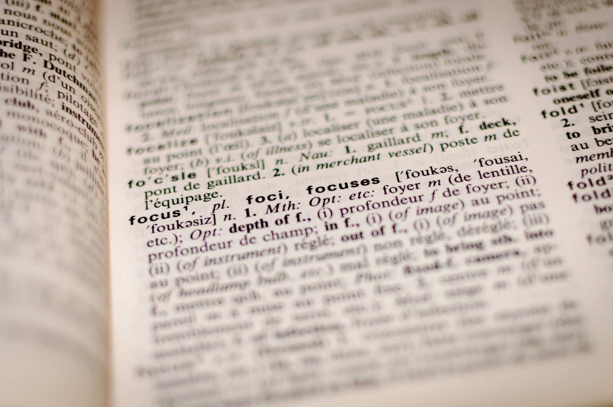 A dictionary open to a page with focus highlighted