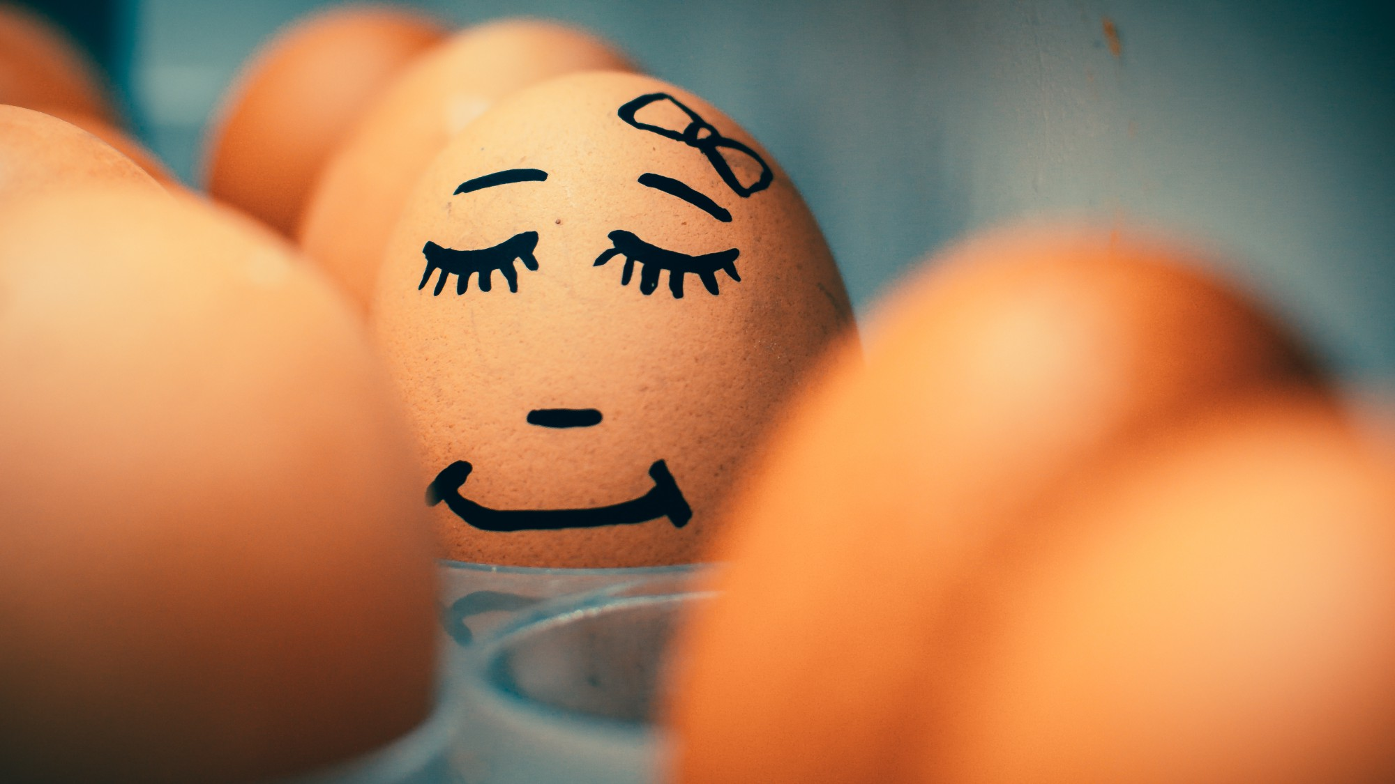 An egg looking happy as it sleeps soundly