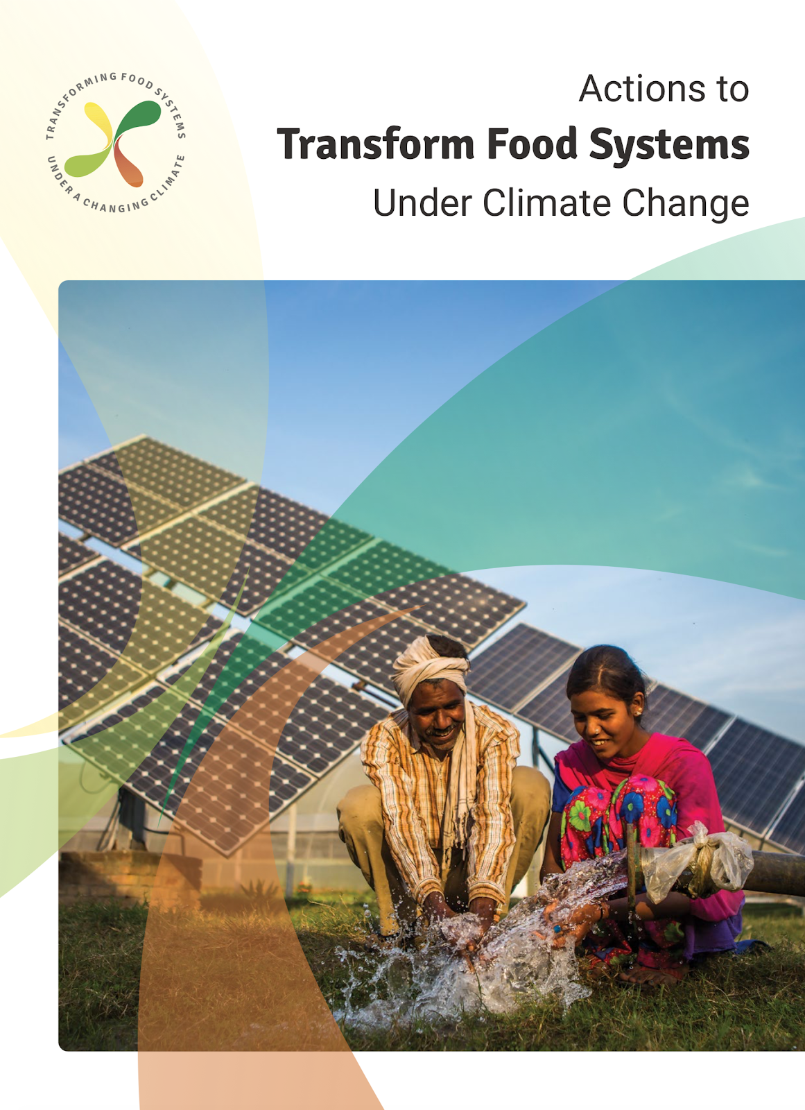 """Report cover design for """"Actions to Transform Food Systems Under Climate Change"""""""
