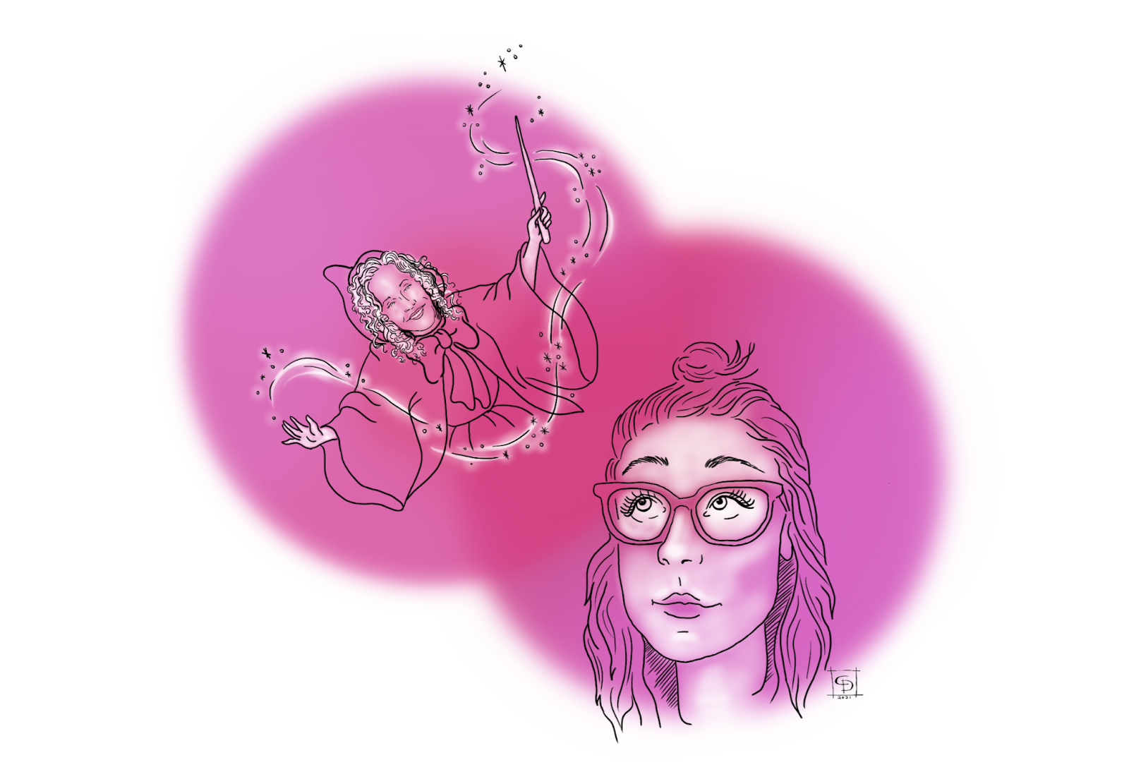 Woman looks up over her right shoulder at her fairy godmother who is whirling a magic wand.