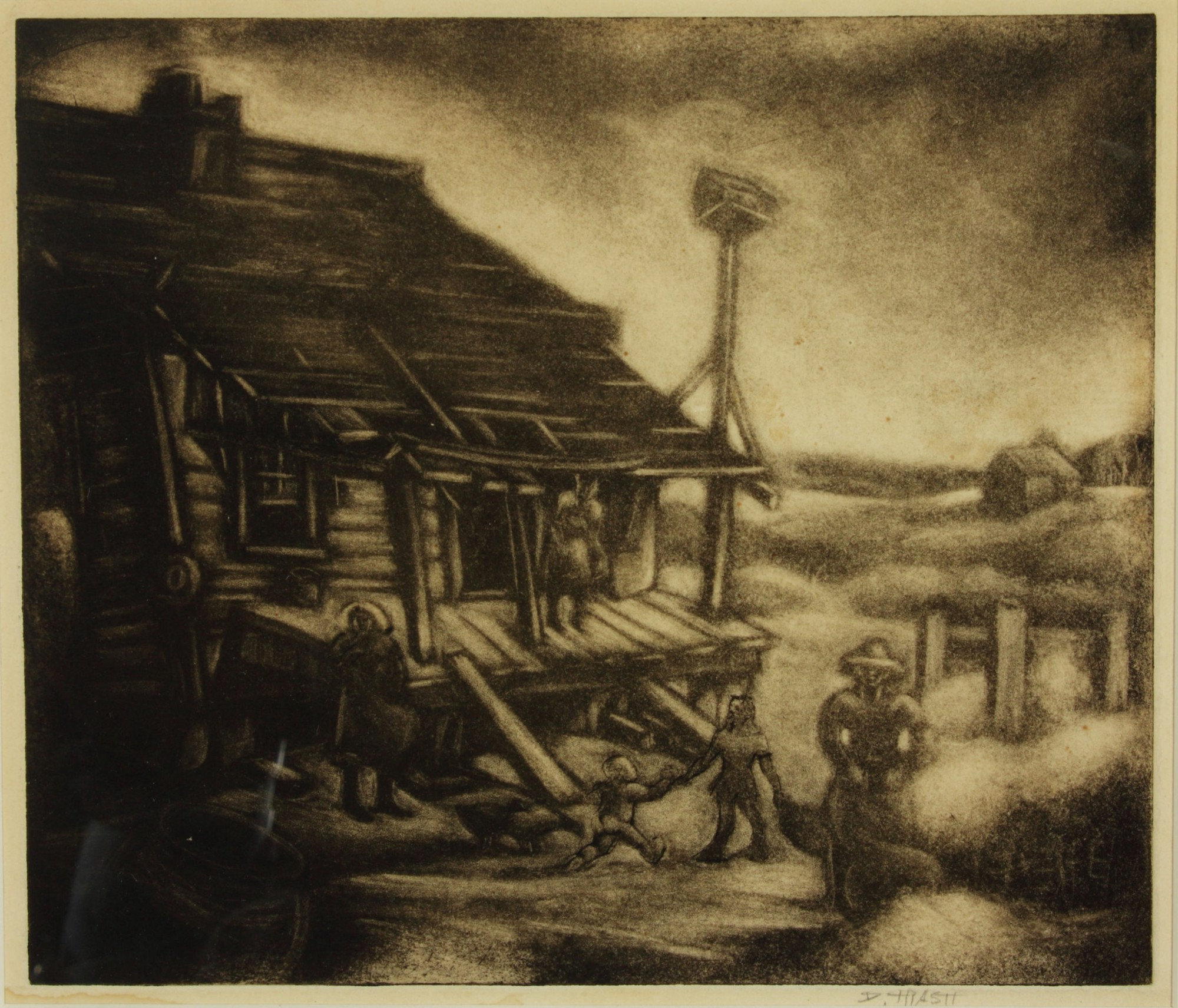 Etching of a farmhouse with a cotton field in Georgia.