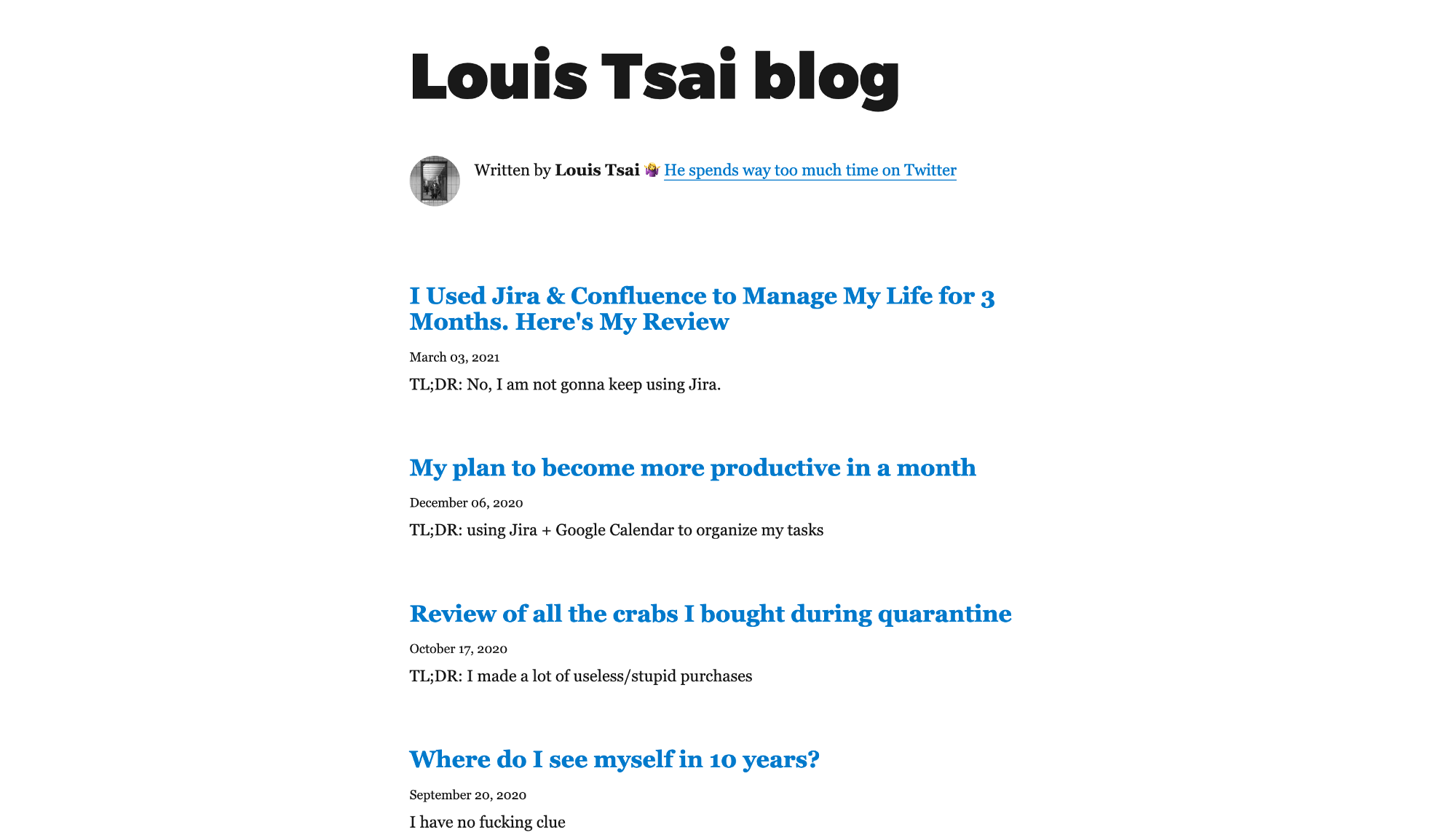 """Screenshot of """"Louis Tsai blog"""", which only has a series of blog post title and headline. The whole page is super plain."""