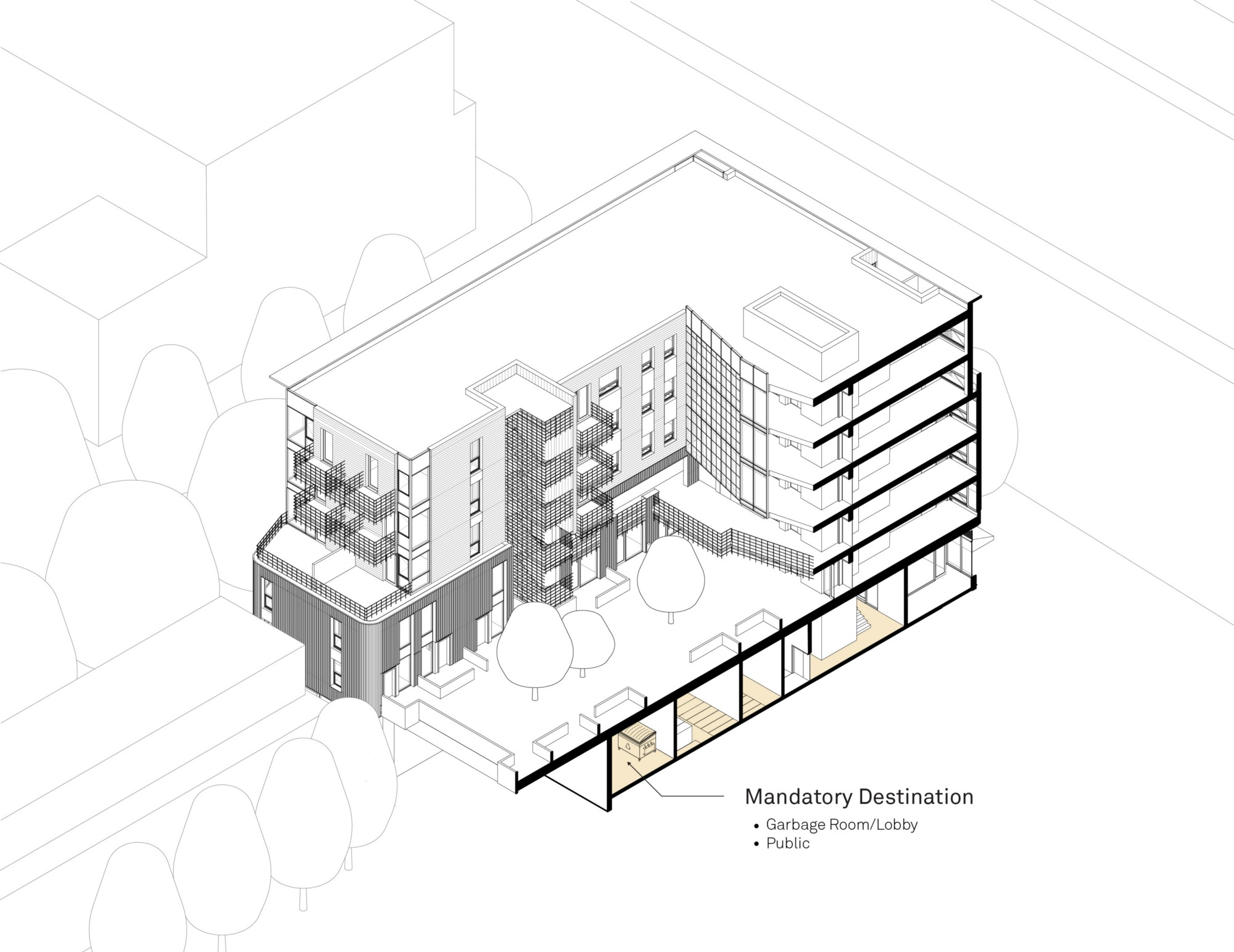 Cutaway of a multi-unit residential building with annotation of the social syntax Human Studio has developed