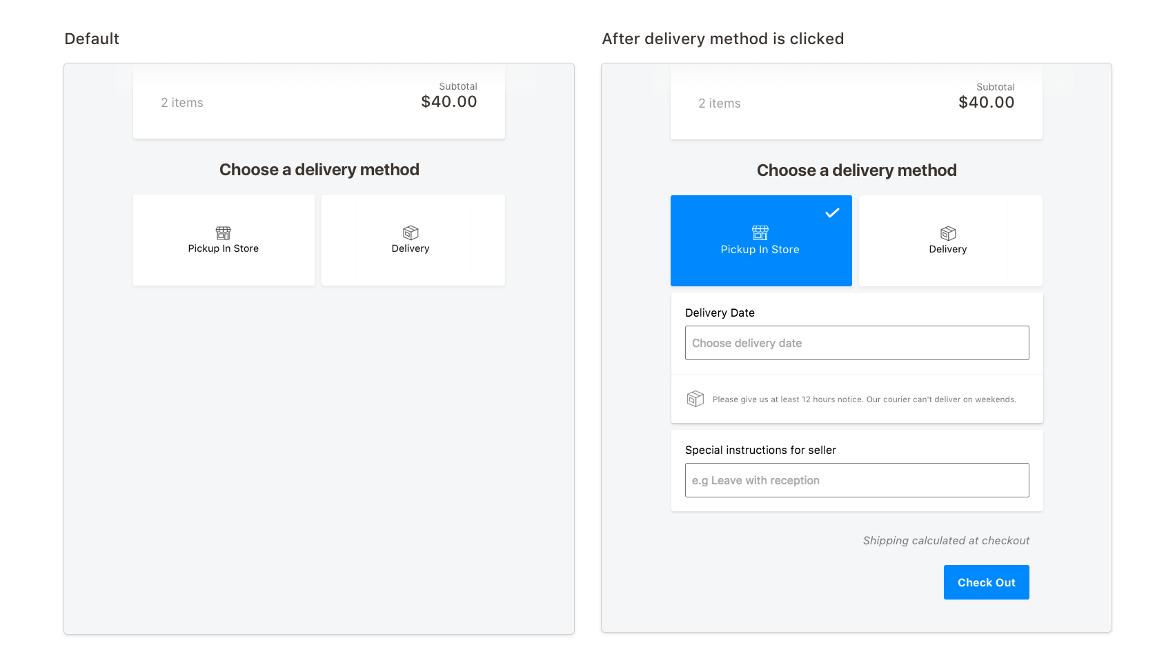 Intentionally forcing users to choose a delivery method before clicking Check Out