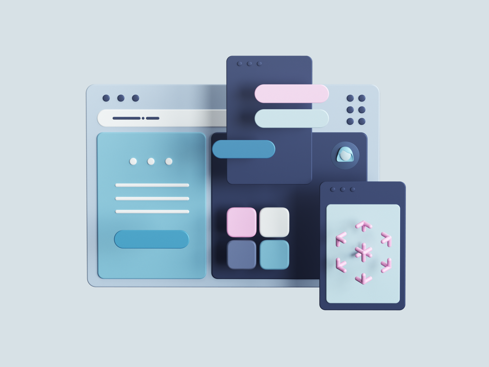 3D illustration of a user interface and its components