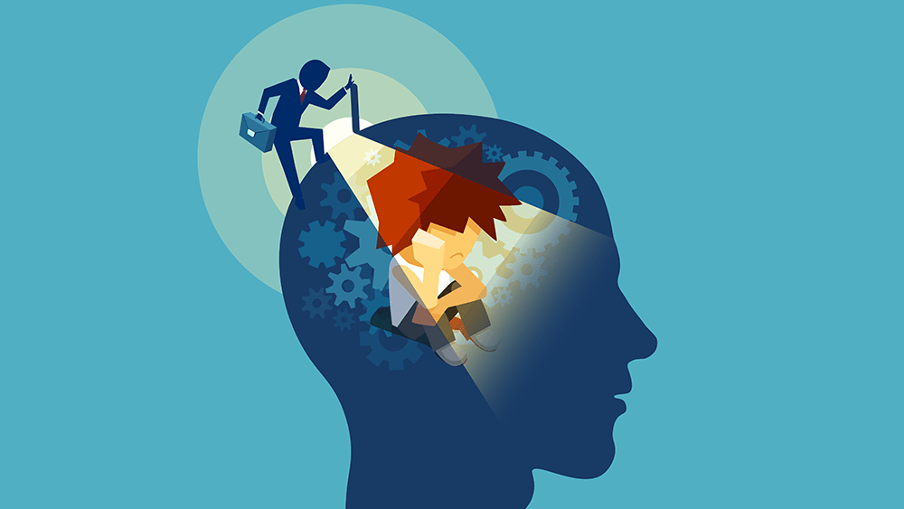cartoon graphic of a small human shining a torch into another human's head, filled with cogs