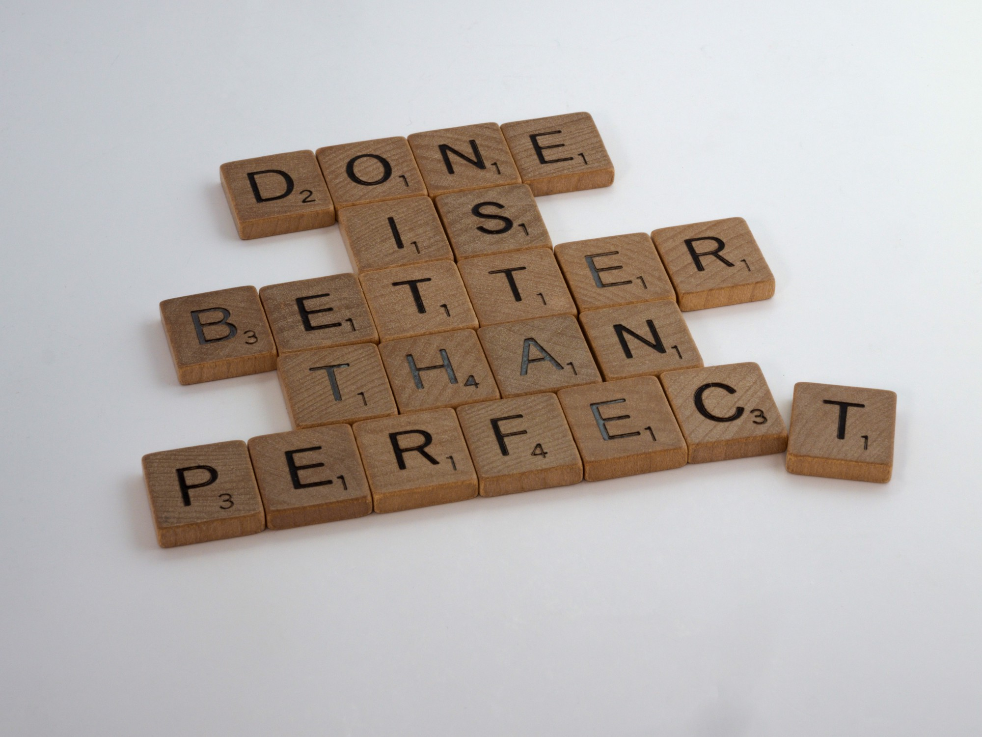 """Scrabble tiles compose """"Done is better than perfect"""""""