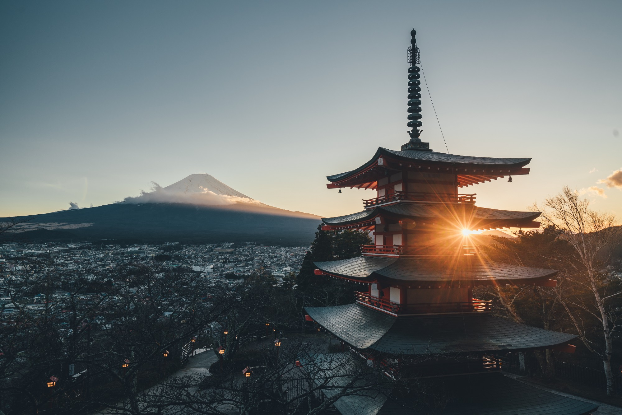 Japanese pagoda with Mount Fuji in the background