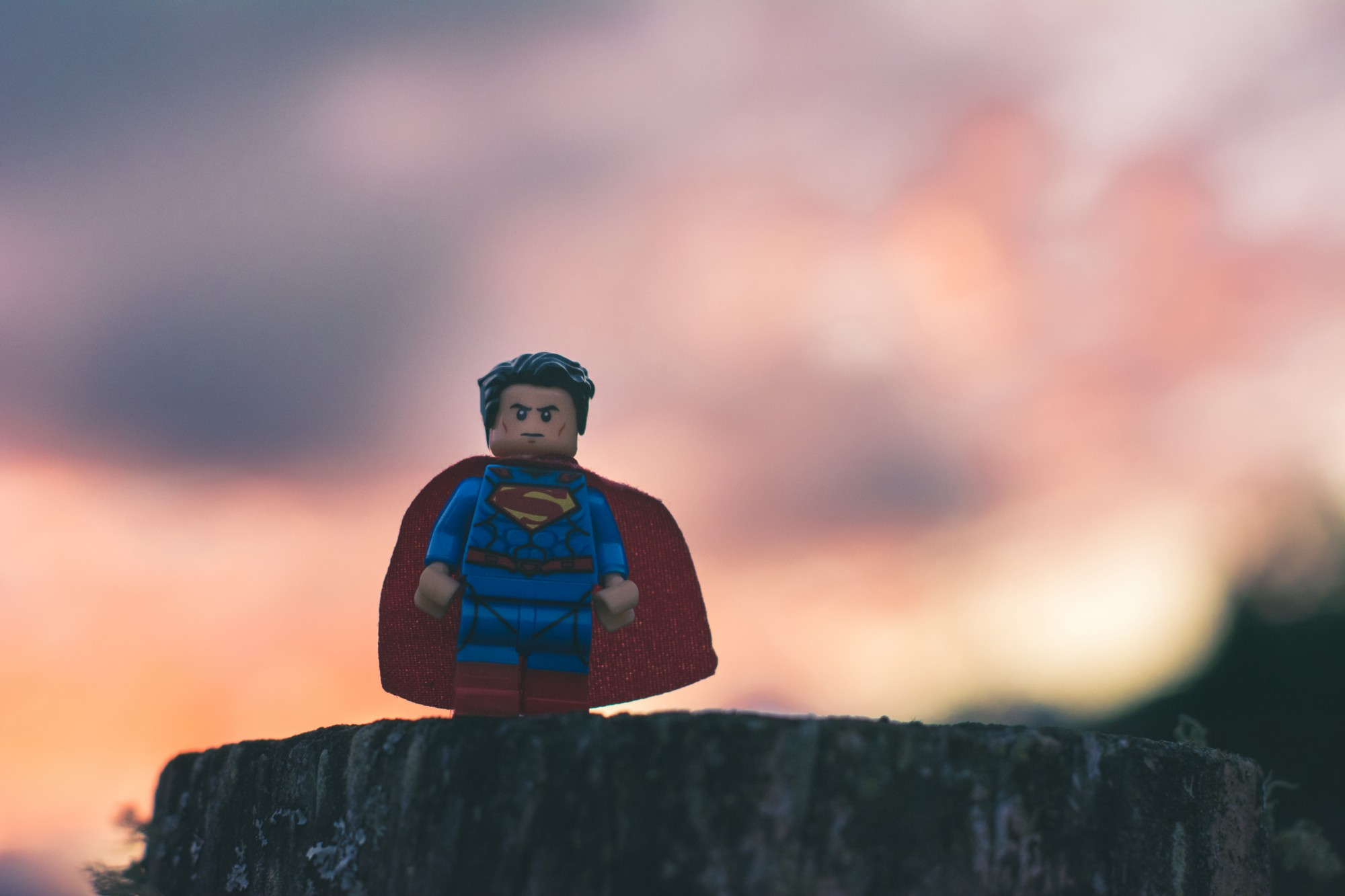 A LEGO Superman figurine looking badass straight at us, with sunset colors in the background and him standing on a tree stump watching.