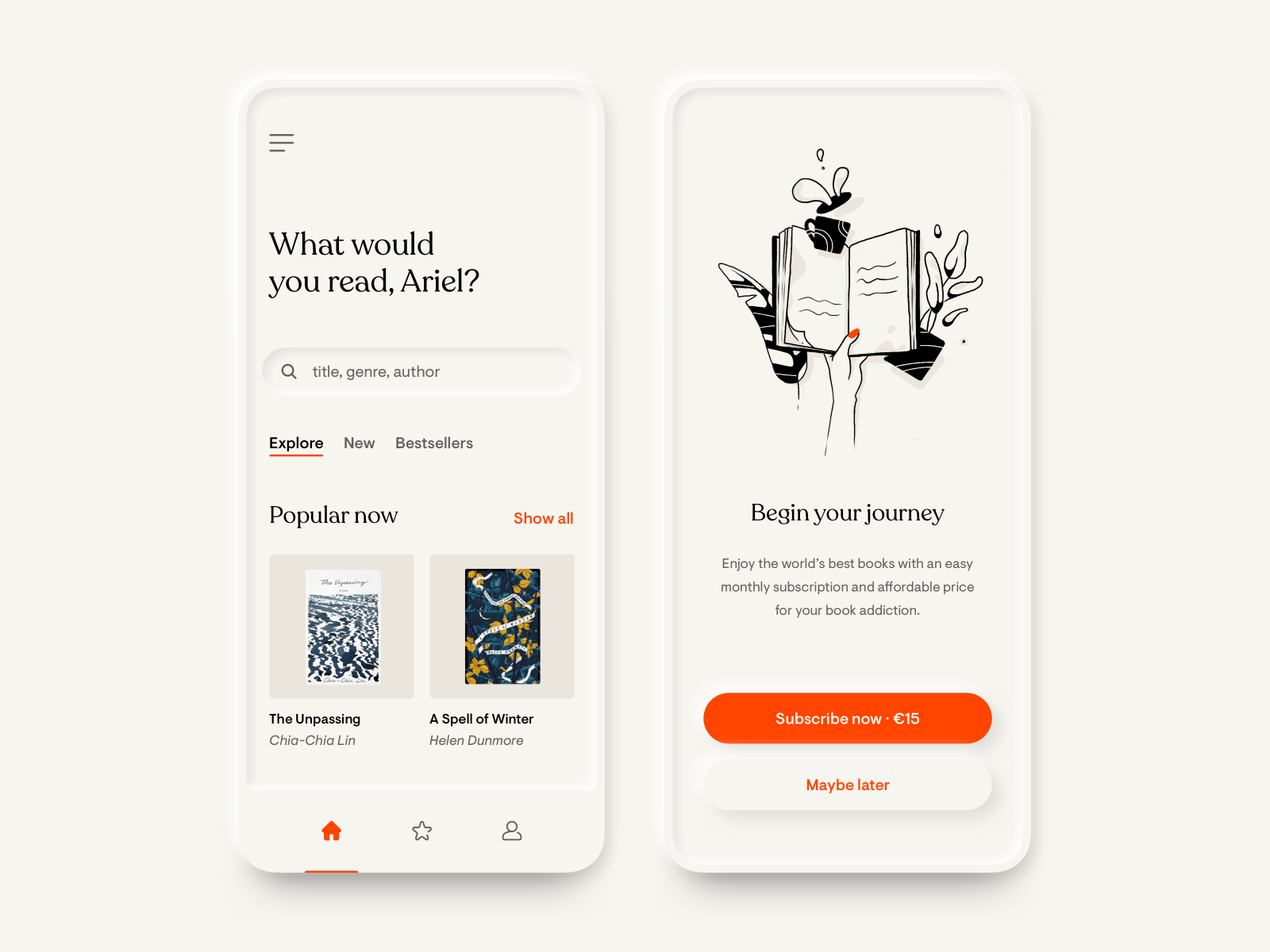 The cover image for this article —A book subscription app by Ariel Jędrzejczak on Dribbble.