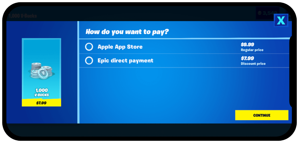 Fortnite offers alternative payment methods outside of App Store