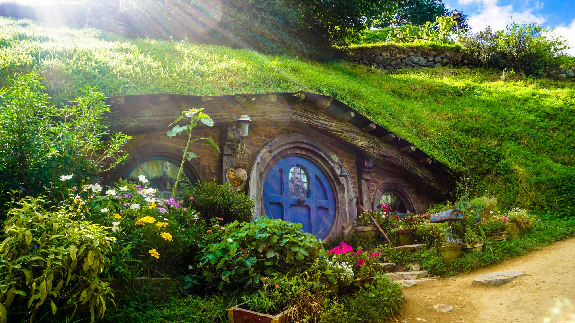 A hobbit house in the side of a hill