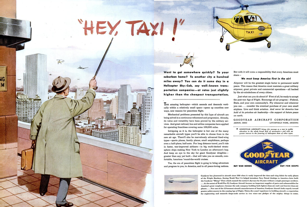 an old goodyear ad showing airtaxies piloted by humans
