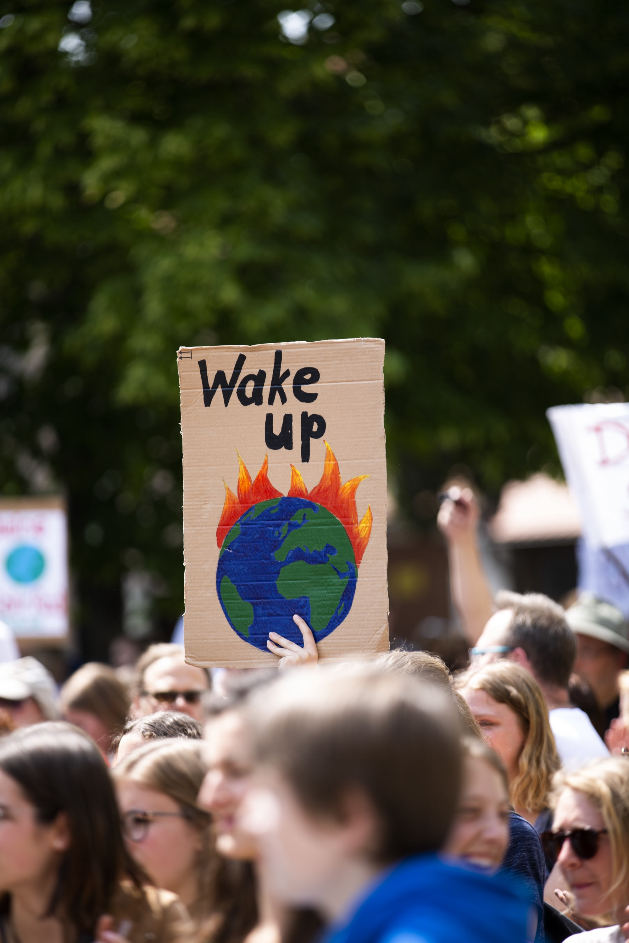 "Protesters with picket signs, one in the middle made of cardboard and the words, ""wake up"" and picture of a burning earth"