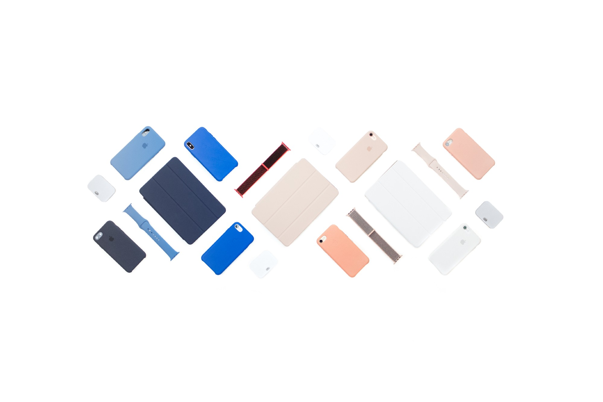 E.g., A grid of iphones, ipads, and watch bands