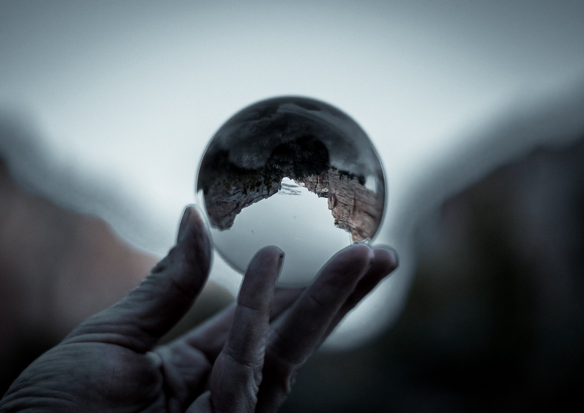 Glass globe with upside-down perspective