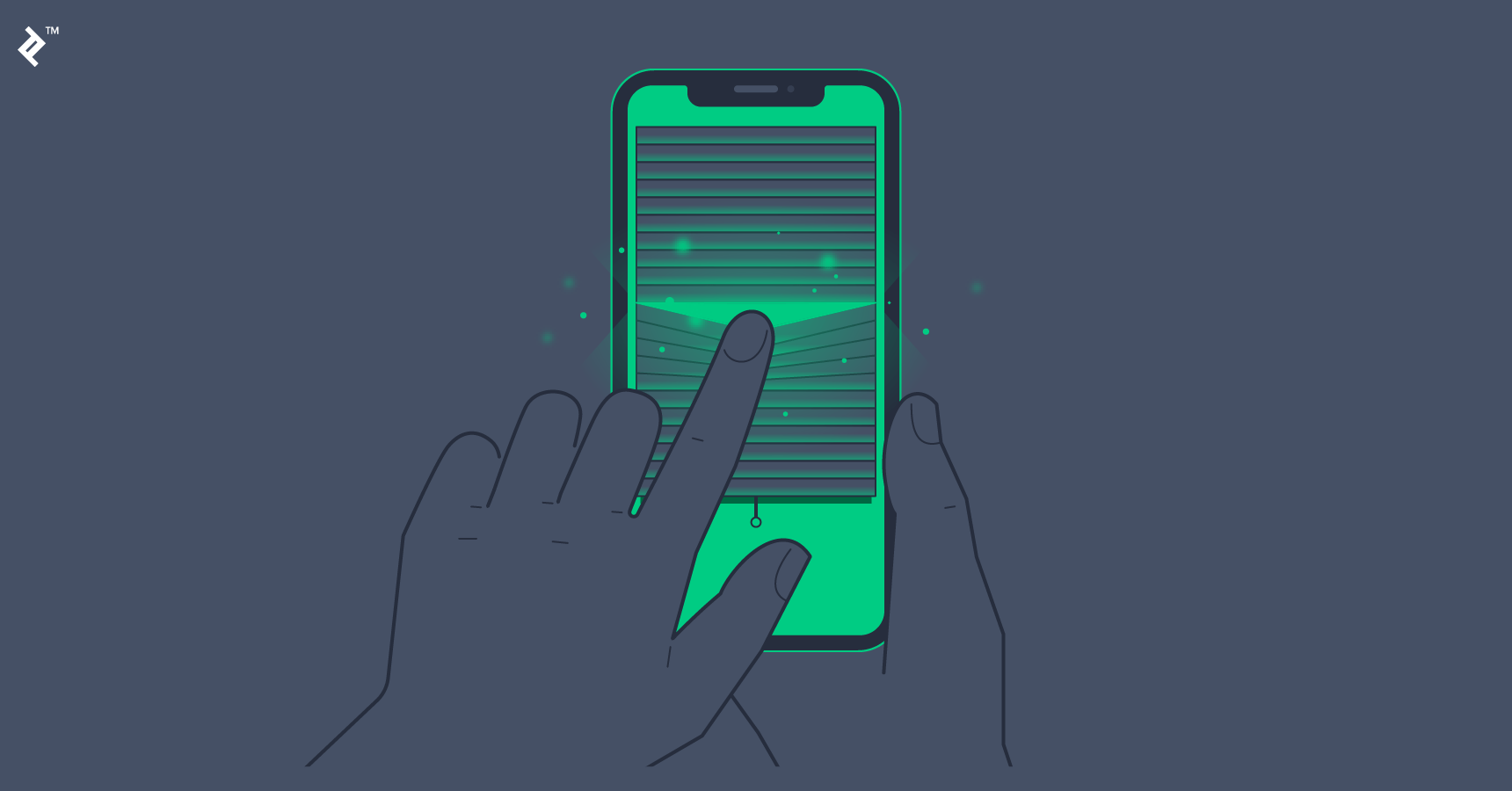 A finger parts window blinds on a smartphone.