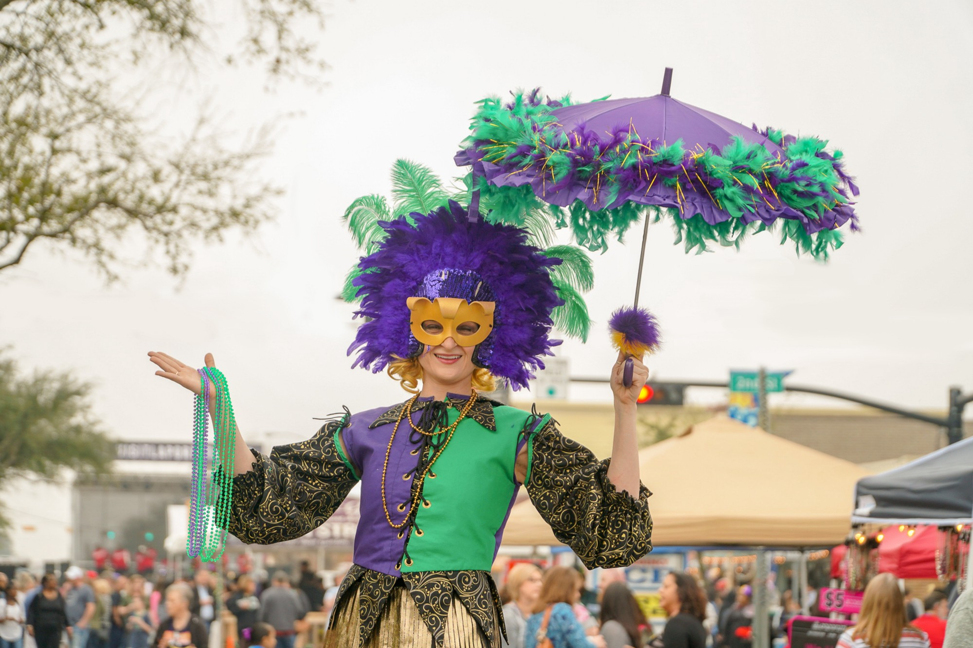 a Mardi Gras parade celebrant with feathers and a mask