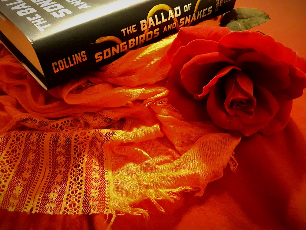 A hardcover of the book sits on an orange scarf beside a red rose, on a red background.