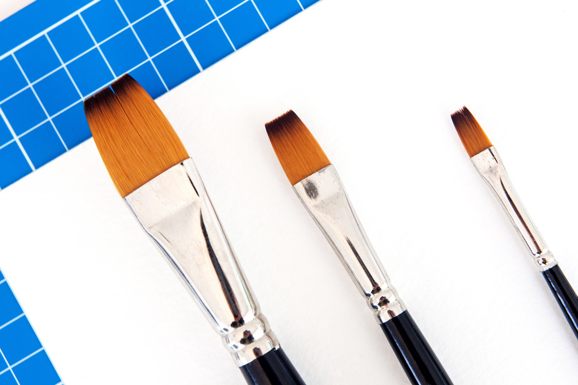 three flat paint brushes, different sizes, on a white back ground with light blue tie on one side