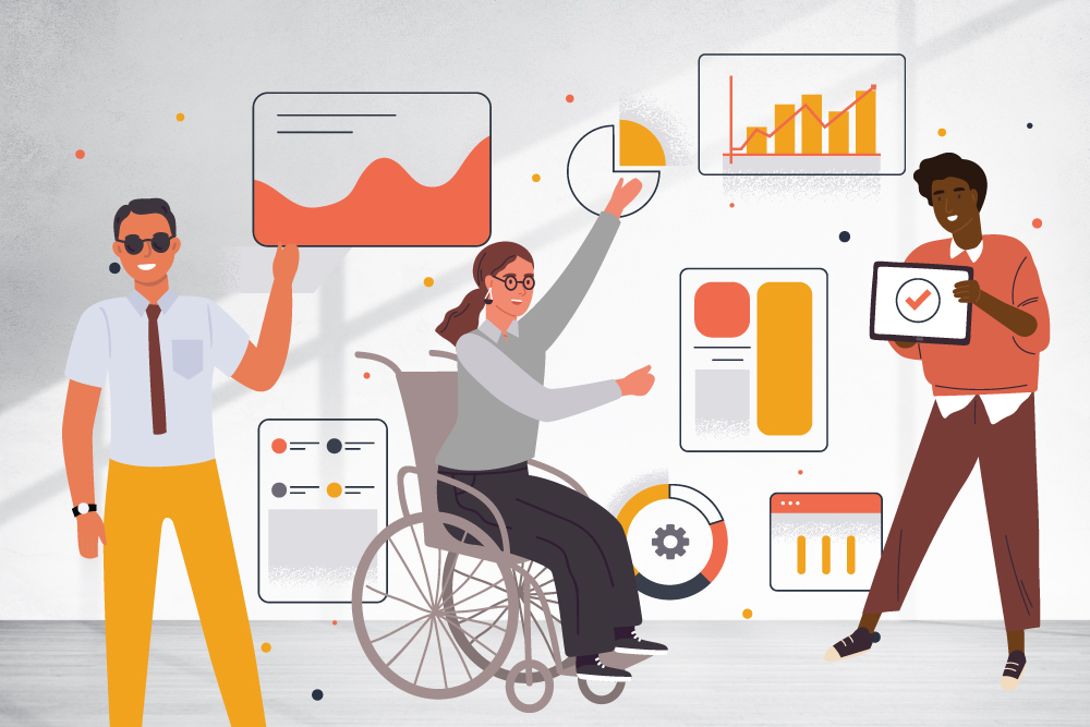 An illustration shows 3 people and a range of graphs and business looking assets