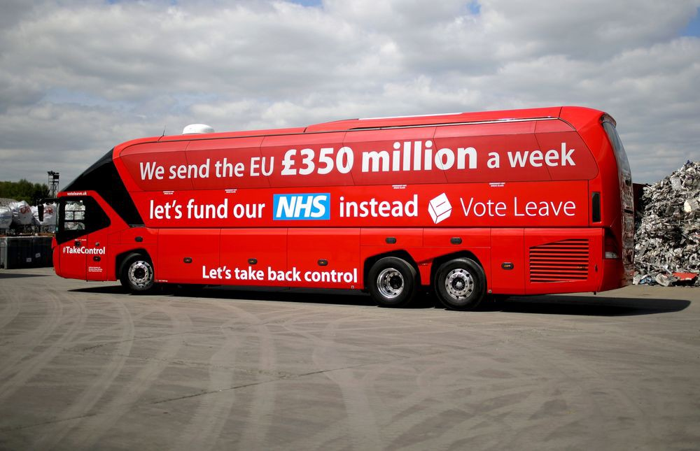 """image of the """"big red bus"""" used during the campaign that led to Brexit"""