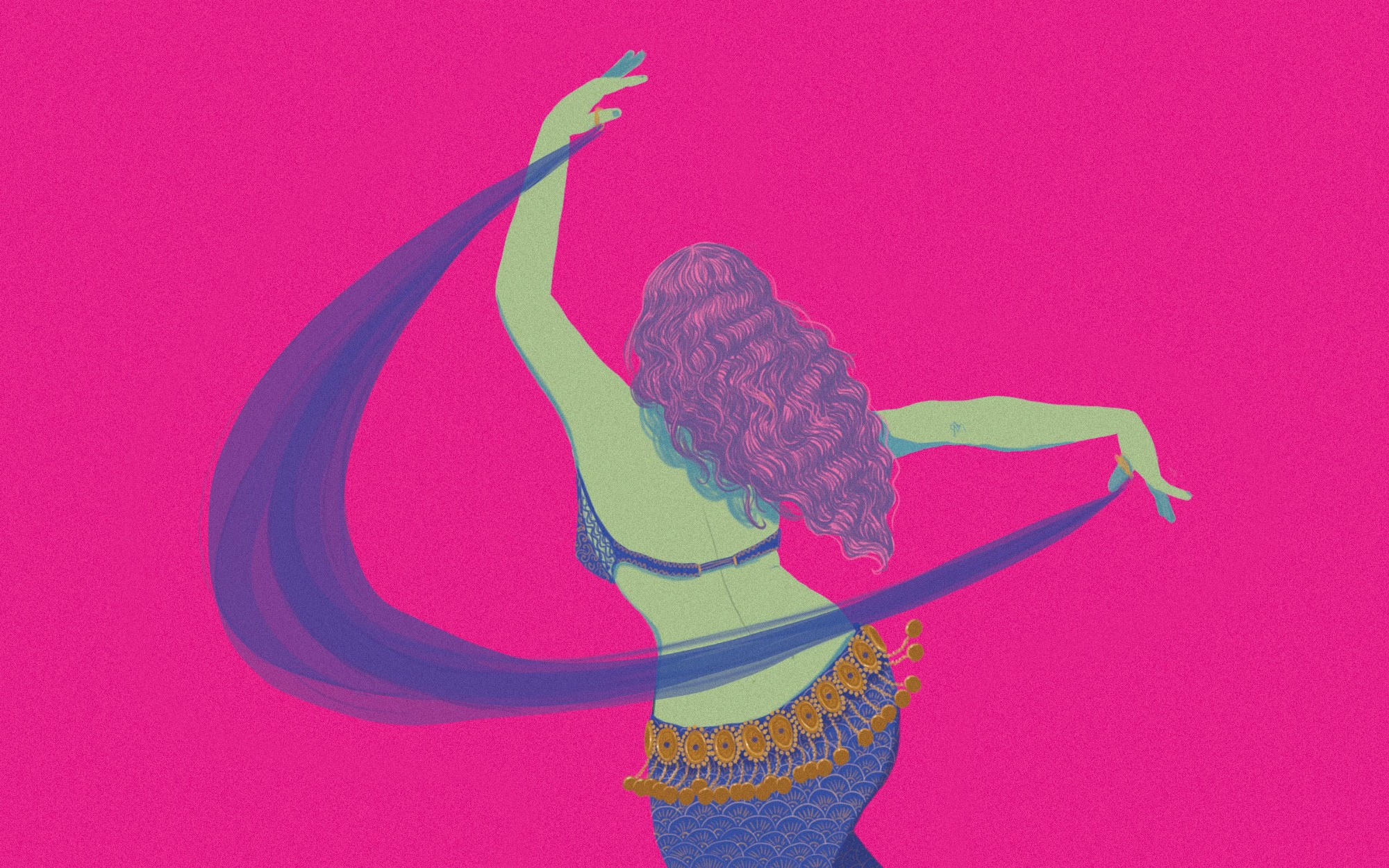 An illustration of the back of a woman belly dancing, against a deep fuschia background.