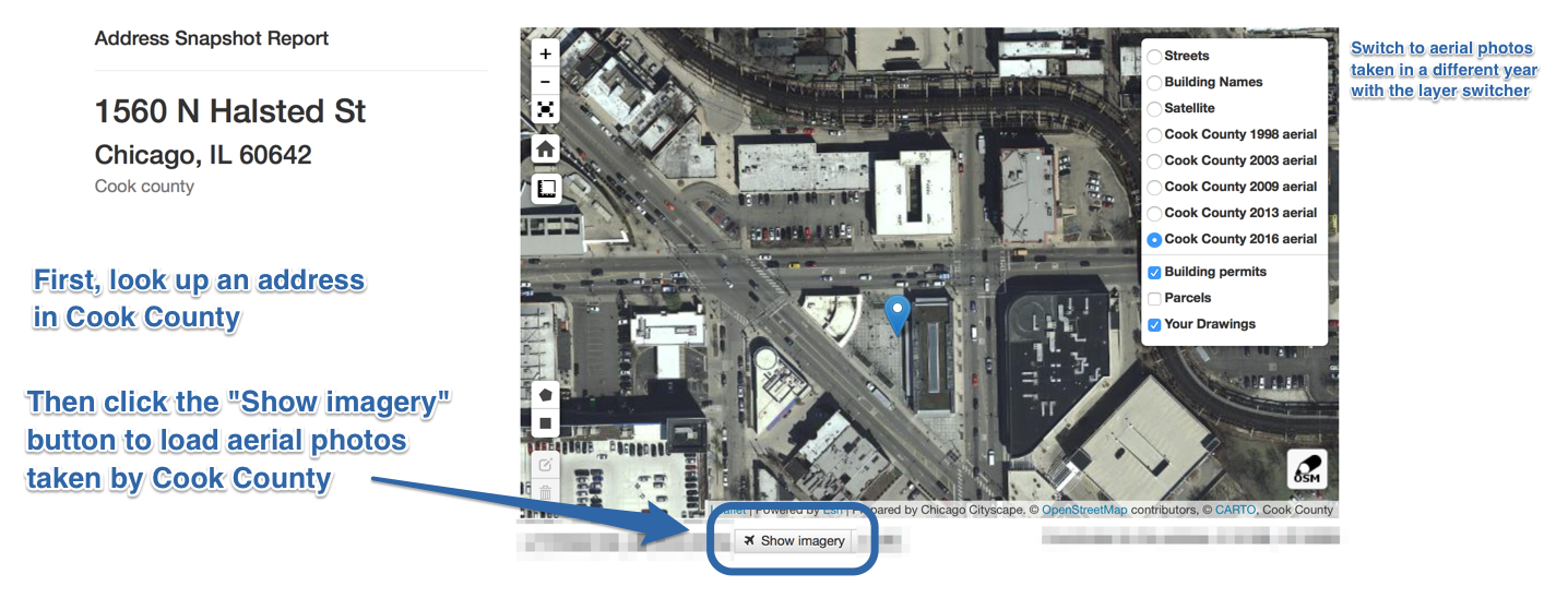 View historical aerial imagery when you look up an address in Cook
