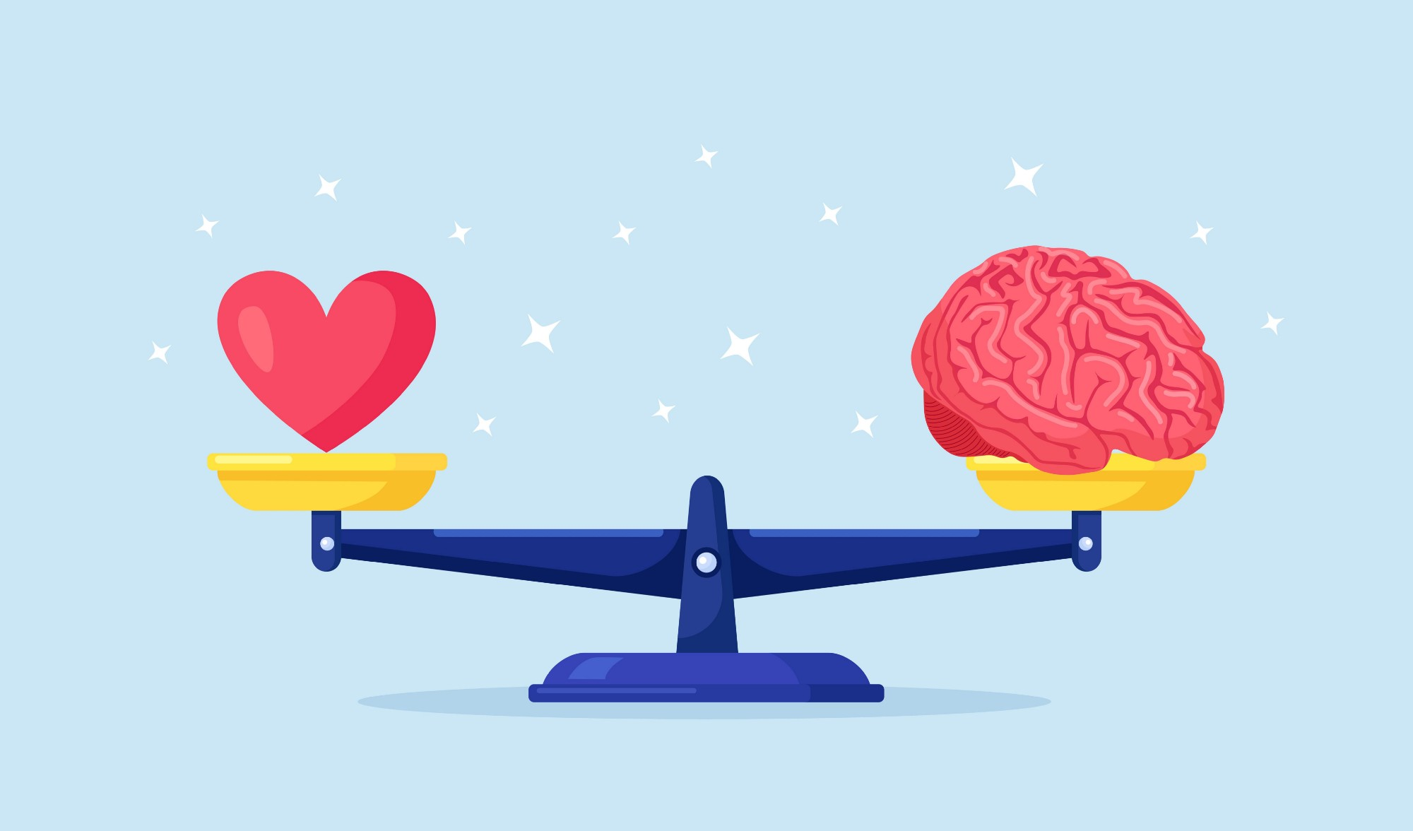 Balance between heart, emotions, love and intelligence, brain, logic on scales. choosing between feelings and mind, career or hobby, love or work. making life decision. emotional balance