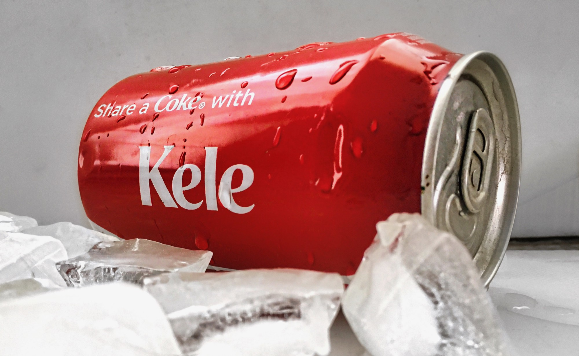 "Coke can written ""Share a Coke with Kele"""