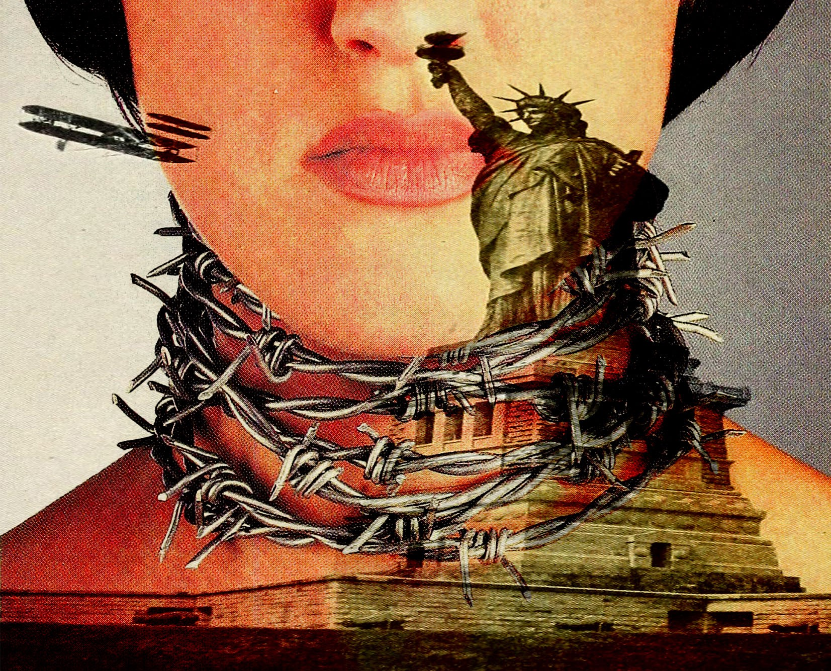 Collage by author: Statue of Liberty, girl in barbed wire necklace.
