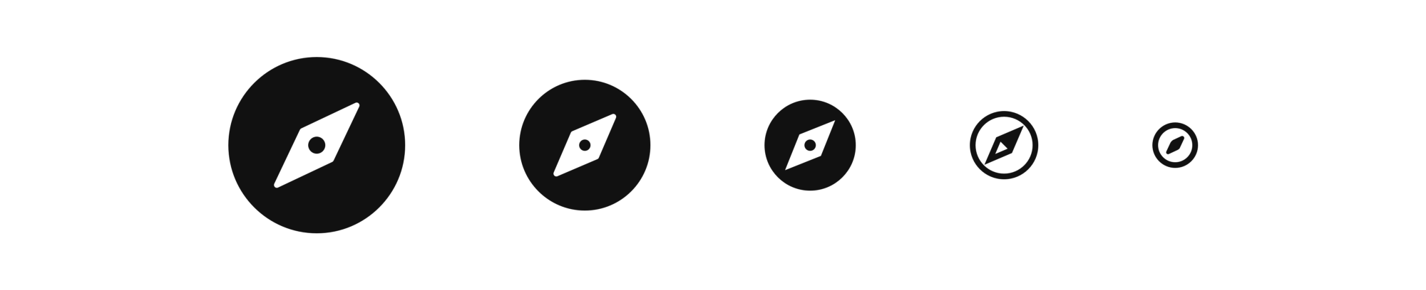 Nucleo's compass icon employs different levels of detail from 64px to 16px