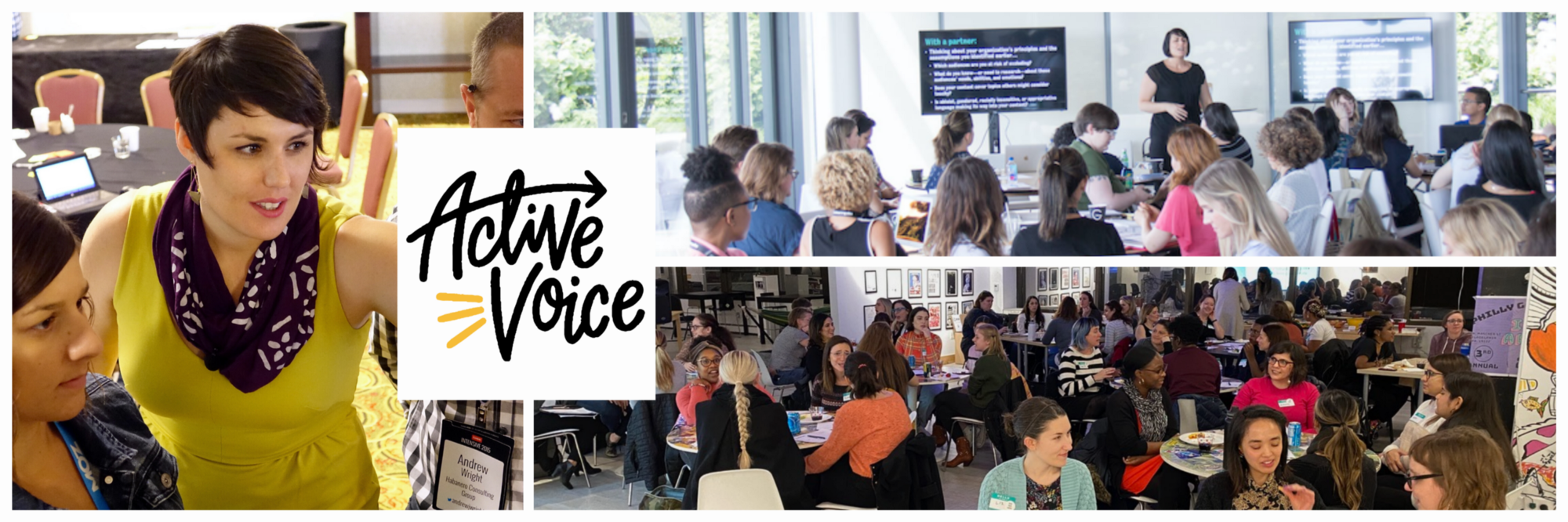 Photo collage of the Active Voice logo and 3 photos of Sara leading workshops and interacting with attendees.