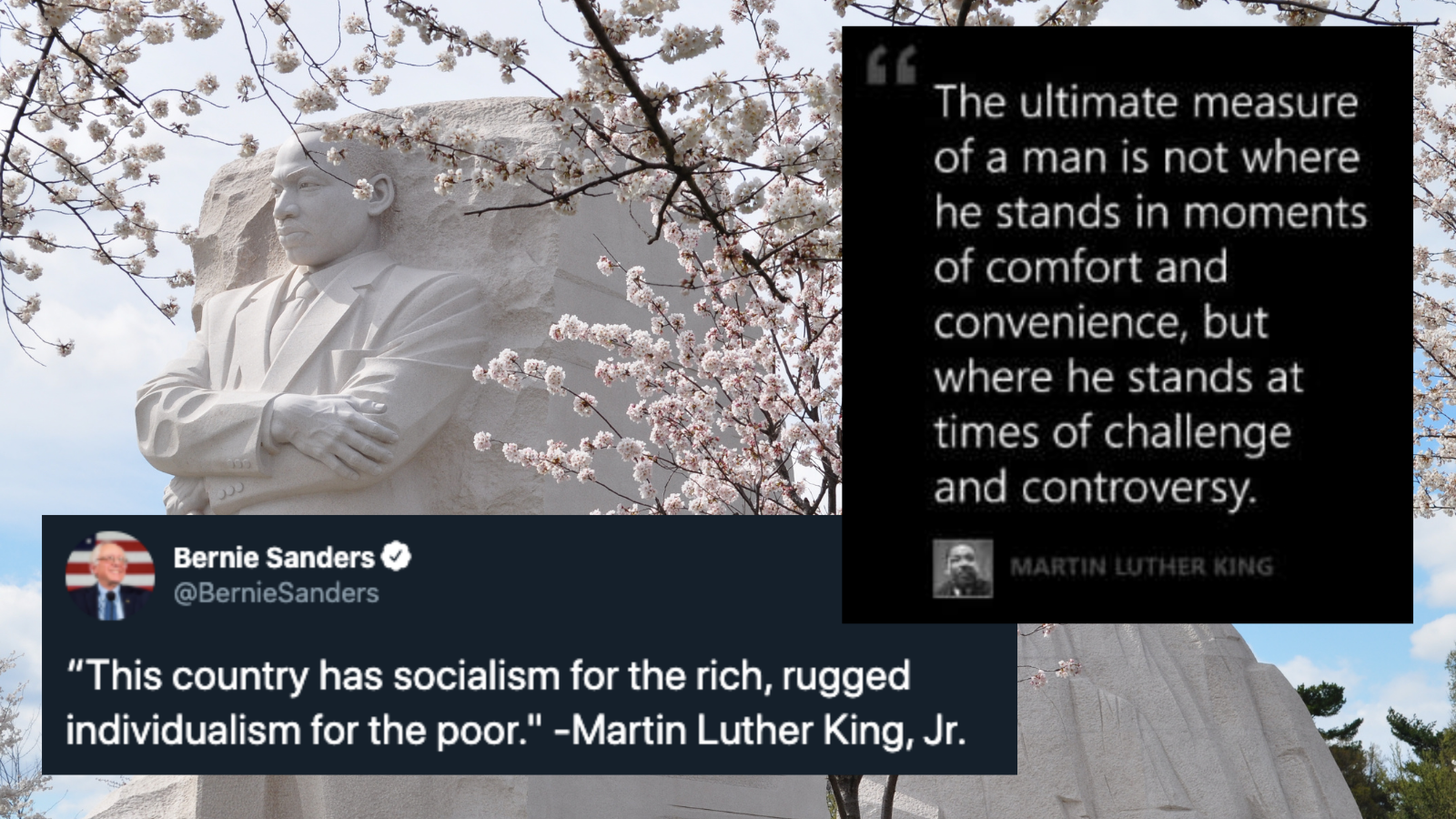 "MLKJR monument with tweet and quote ""This country has socialism for the rich, rugged individualism for the poor."" -MLKJR"