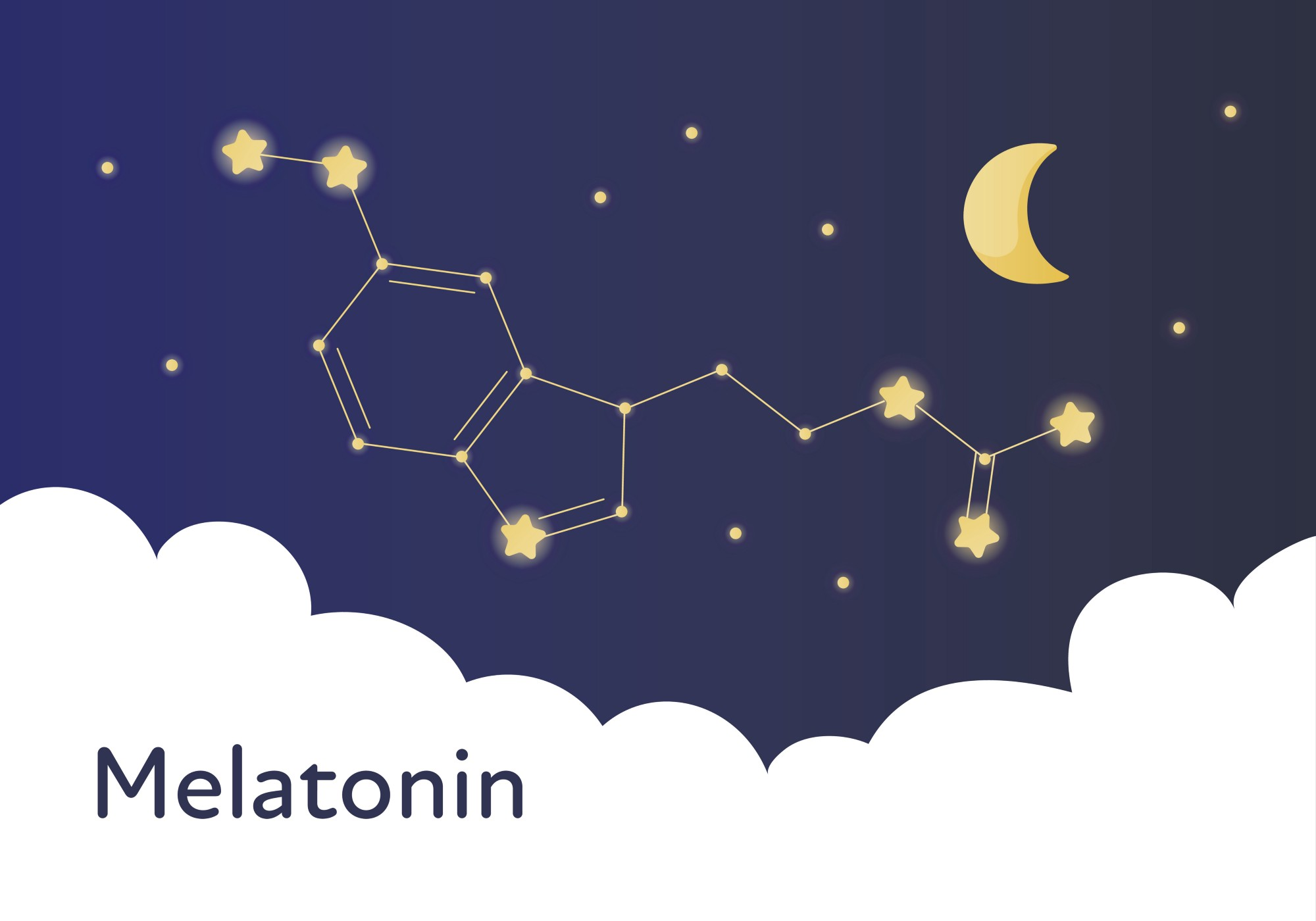 Molecular structure of melatonin drawn over the canvas of the night sky.