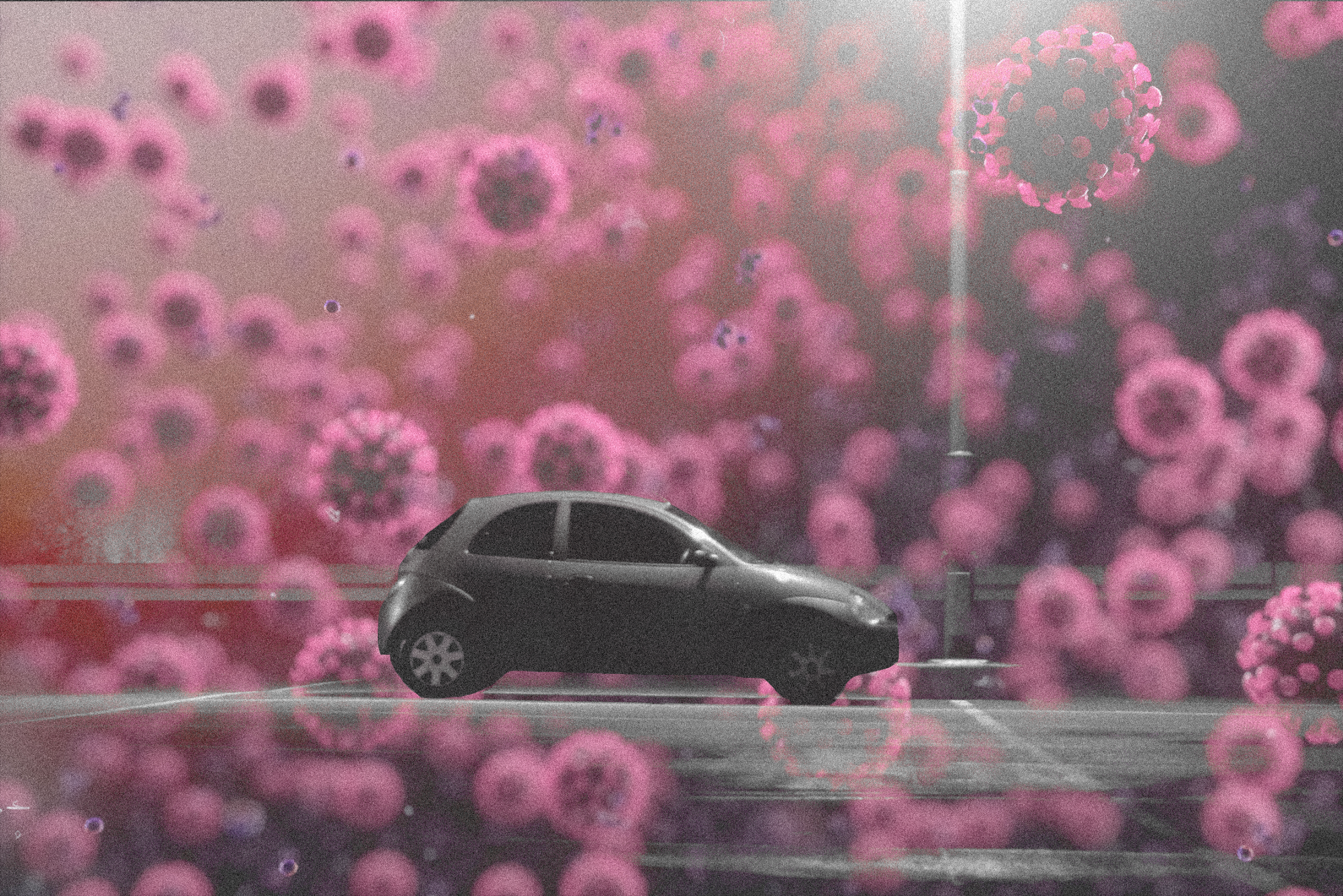 A photo illustration of a car parked in a parking lot, with coronaviruses swarming in the background.