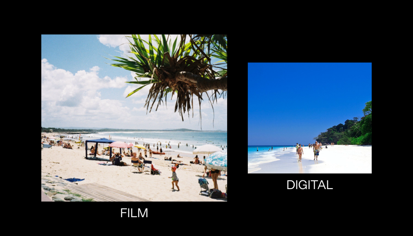 Two side by side stock photos of a beach. One is grainer and shot on film, the other is a glossy digital shot.